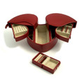 """LOVING HEART"" RED ""LIZARD"" LEATHER JEWELRY BOX W/ TRAVEL CASE"