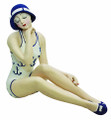SEATED BATHING BEAUTY FIGURINE IN BLUE & WHITE ANCHOR SWIM SUIT - SHELF SITTER - NAUTICAL DECOR