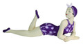 RECLINING BATHING BEAUTY FIGURINE IN PURPLE FLORAL BATHING SUIT - NAUTICAL DECOR