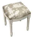 """ROYAL PAVILION"" CHINOISERIE UPHOLSTERED STOOL - VANITY SEAT - TAUPE"