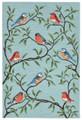 """COLORFUL SONGBIRDS"" INDOOR OUTDOOR RUG - BIRD RUG - 5' x 7'6"""