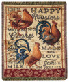 """COUNTRY ROOSTER"" TAPESTRY THROW BLANKET - 50"" X 60"""