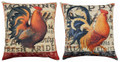 "COUNTRY ROOSTER REVERSIBLE INDOOR OUTDOOR PILLOW - 18"" SQUARE"