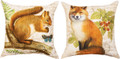 """FOREST FRIENDS"" REVERSIBLE PILLOW - 18"" SQUARE - FOX & SQUIRREL"