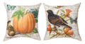 "THROW PILLOWS - ""FOREST FRIENDS"" REVERSIBLE PILLOW - 18"" SQUARE - PUMPKIN & CROW"