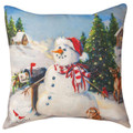 """LETTER TO SANTA"" INDOOR OUTDOOR SNOWMAN PILLOW - 18"" SQUARE"