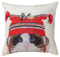 "CAT WITH CHICKADEES INDOOR OUTDOOR PILLOW - 18"" SQUARE"