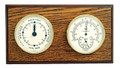 """CAPE MAY"" TIDE CLOCK & THERMOMETER/HYGROMETER ON OAK BASE - WEATHER STATION"