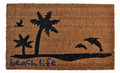 """BEACH LIFE"" COIR DOORMAT - 18"" x 30"" - PALM TREES AND DOLPHINS DOOR MAT -  WELCOME MAT"