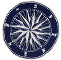 """MARINERS COMPASS"" INDOOR OUTDOOR RUG - BLUE - 8' ROUND - NAUTICAL DECOR"