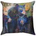 "DECORATIVE PILLOWS - BEAR FAMILY INDOOR OUTDOOR PILLOW - 18"" SQUARE"