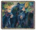 BEAR FAMILY TAPESTRY THROW BLANKET - LODGE - WOODLANDS- WILDLIFE