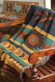 """AZTEC"" TAPESTRY THROW BLANKET - 50"" x 60"" - SOUTHWEST DECOR - GEOMETRIC DESIGN"