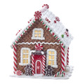 LED LIGHTED GINGERBREAD HOUSE WITH GINGERBREAD MEN & CANDY TRIM