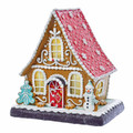 "LED LIGHTED GINGERBREAD HOUSE WITH SNOWMAN & CHRISTMAS TREE COOKIE TRIM - 9""H"