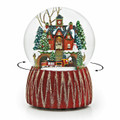 "SNOW GLOBES - ""CHRISTMAS CAROLING AT CITY HALL"" REVOLVING MUSICAL SNOW GLOBE"