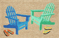 """""""DOWN BY THE SEASHORE"""" RUG - 20"""" x 30"""" - ADIRONDACK BEACH CHAIRS - INDOOR OUTDOOR RUG"""