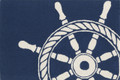 """CAPTAINS WHEEL"" INDOOR OUTDOOR RUG - BLUE - 20"" x 30"" - SHIPS WHEEL"