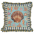 "DECORATIVE PILLOWS - SCALLOP SHELL NEEDLEPOINT THROW PILLOW - 18"" SQUARE"