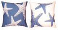"STARFISH REVERSIBLE PILLOW - 18"" SQUARE - INDOOR OUTDOOR PILLOW"