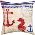 """HUNTINGTON BEACH"" INDOOR OUTDOOR DECORATIVE PILLOW - 18"" SQUARE - ANCHOR & SEAHORSE"