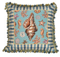"DECORATIVE PILLOWS - CONCH SHELL NEEDLEPOINT THROW PILLOW - 18"" SQUARE"