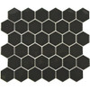 black hexagon mosaic tiles