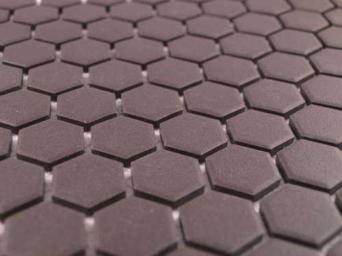 Unglazed black mosaic tiles