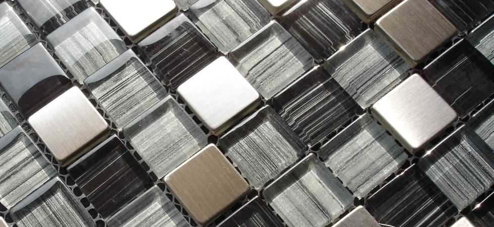 glass and stainless steel mosaic tiles