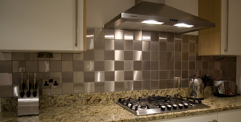 stainless steel kitchen backsplash