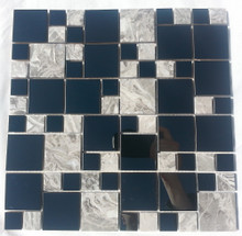 SA073 Stainless Steel & Marble Mosaic Tiles