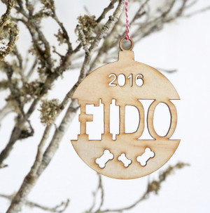 A Personalised Dog Name Christmas ball/bauble plywood tree decoration