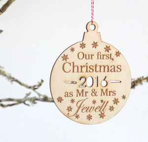 Our First Christmas as Married Personalised Name Christmas ball/bauble plywood tree decoration