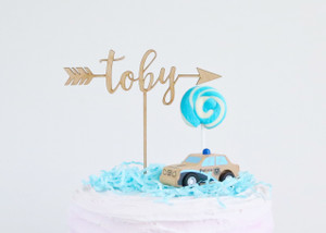 Birthday Arrow - Personalised boho tribal - Wood Cake Topper / wooden topper
