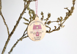 Coloured - UV Printed - Personalised New home Christmas tree decoration