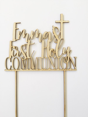 First Holy Communion Personalised Name Wood cake topper birthday decoration