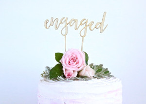 Engaged - Engagement - Wood Cake Topper / wooden topper