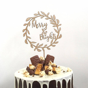 merry and bright - xmas Christmas - Wood Cake Topper / wooden topper