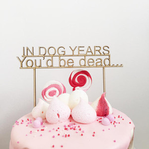In dog years - Birthday  - Wood Cake Topper/Birthday wooden topper