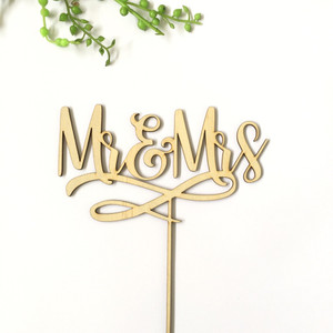 Mr & Mrs with embellishment - Engagement Anniversary- Wood Cake Topper / wooden topper