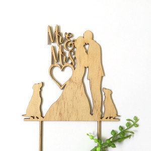 Mr & Mrs silhouette with 2 dogs - Engagement Anniversary- Wood Cake Topper / wooden topper