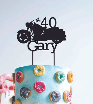 40 Harley Motorbike - Custom name - birthday  - Personalised Name Wood cake topper birthday decoration