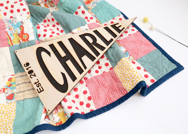 Personalised wood/timber pennant flag name wall or door hanging pennant