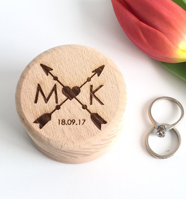 Personalised wooden wedding ring box with arrows