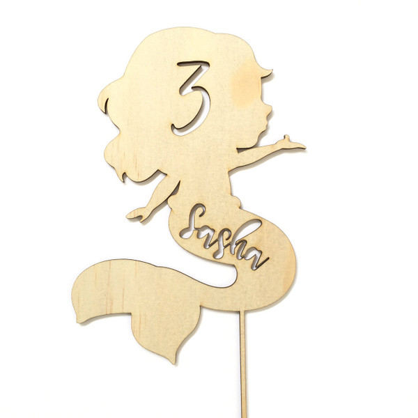 Mermaid - Under the sea Personalised Name Wood cake topper birthday decoration