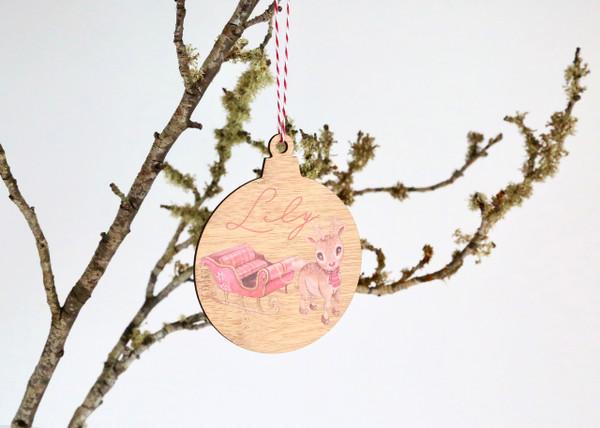 Coloured - UV Printed - Personalised Sleigh reindeer Christmas tree decoration
