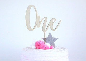 Number one - Wood Cake Topper / wooden topper
