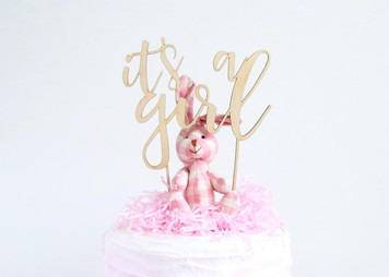 It's a girl - baby shower - Wood Cake Topper / wooden topper