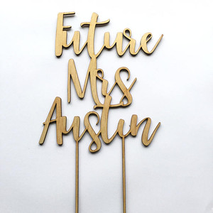 Future Mrs - Engagement Kitchen Tea - Personalised Name Wood cake topper birthday decoration