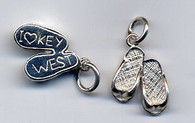 "SS ""I Love Key West"" Double Flip Flop Charm"